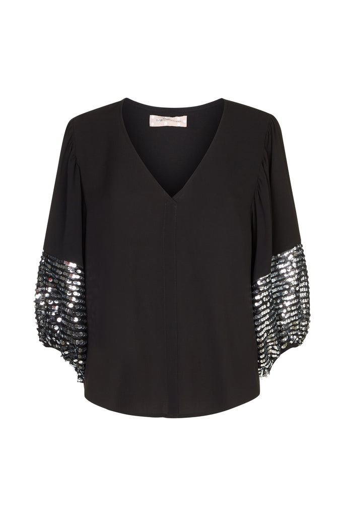 Traffic People Shoulder The Blame Sequin Shirt in Black and Silver FlatShot Image