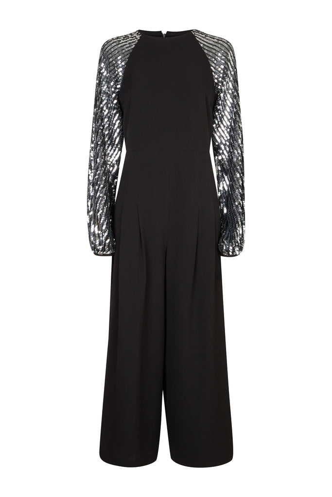 Traffic People Shoulder The Blame Wide Leg Sequin Jumpsuit in Black FlatShot Image