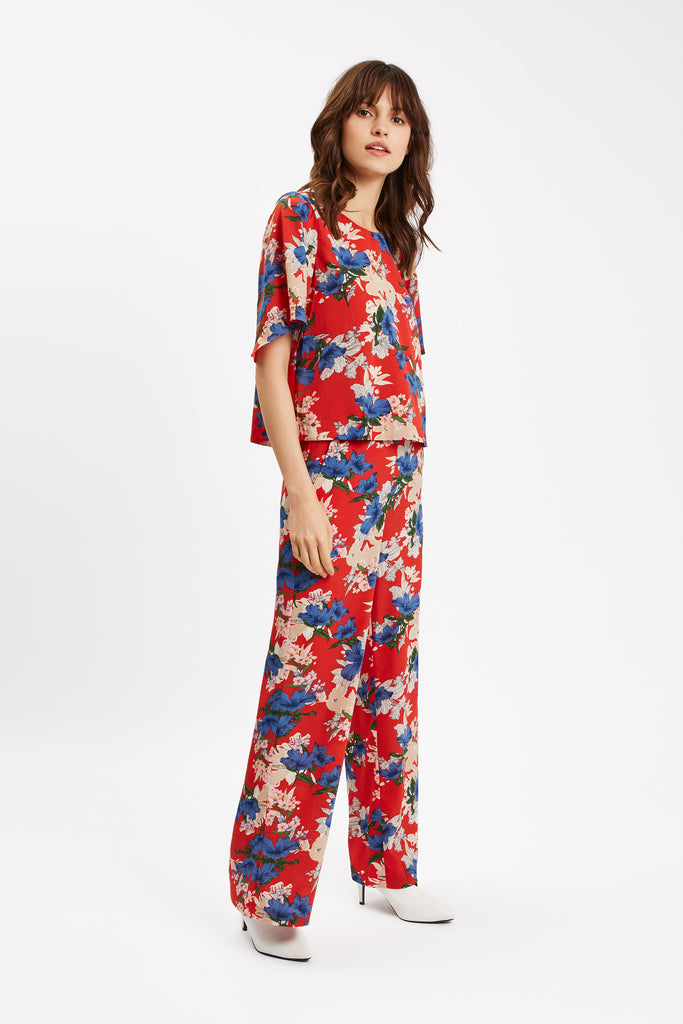 Traffic People SING Floral Red Wide Leg Trousers Side View Image
