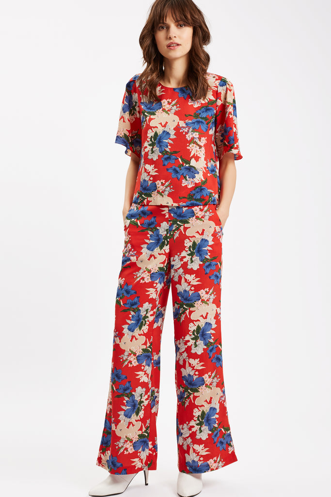 Traffic People SING Floral Red Wide Leg Trousers Front View Image