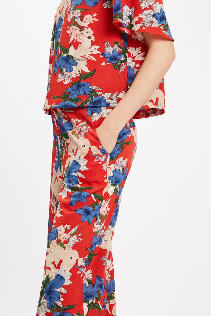 Traffic People SING Floral Red Wide Leg Trousers Back View Image