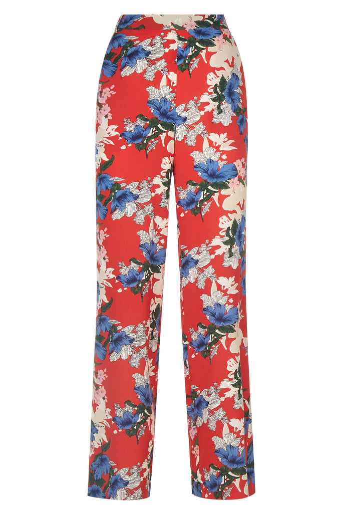 Traffic People SING Floral Red Wide Leg Trousers FlatShot Image