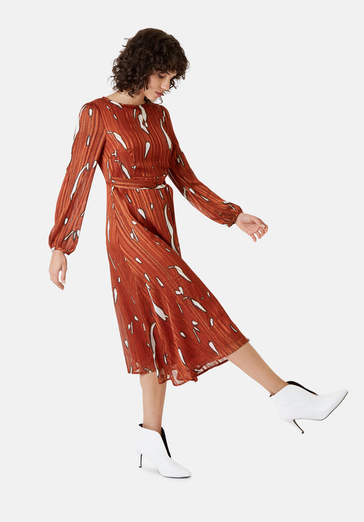 Traffic People Mood Midi Printed Dress in Rust Red Side View Image