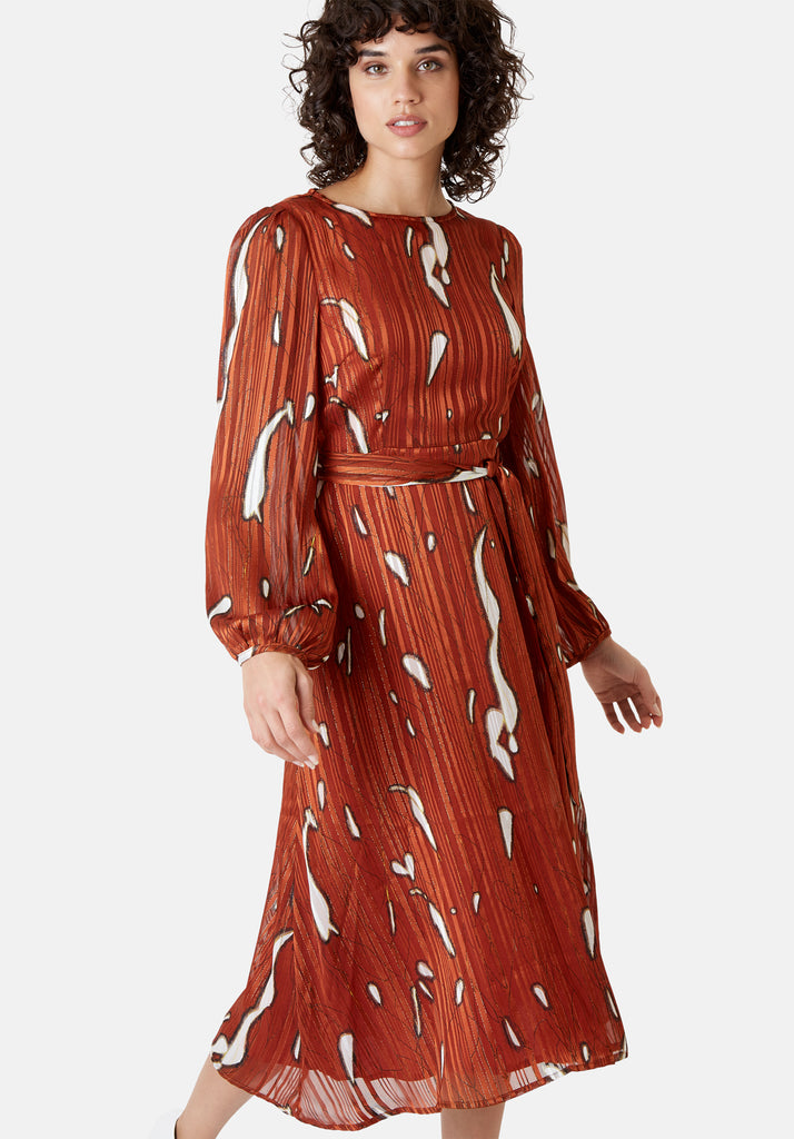 Traffic People Mood Midi Printed Dress in Rust Red Front View Image