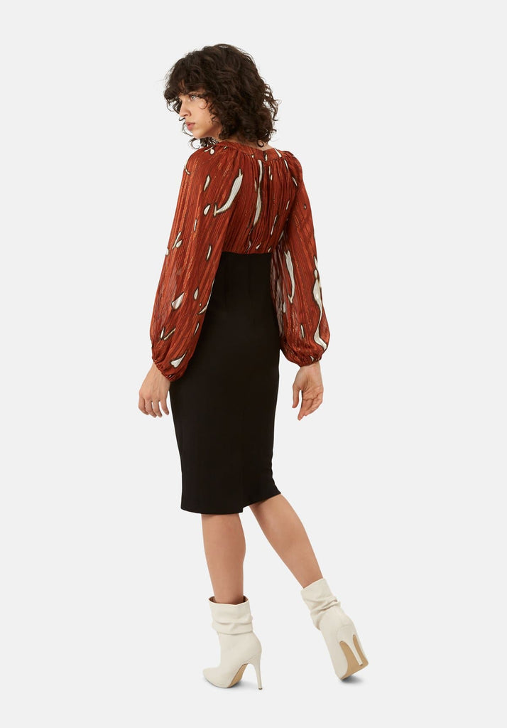 Traffic People Wiggle and Wave Midi Pencil Dress in Rust Red Side View Image