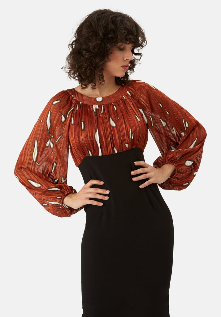 Traffic People Wiggle and Wave Midi Pencil Dress in Rust Red Back View Image