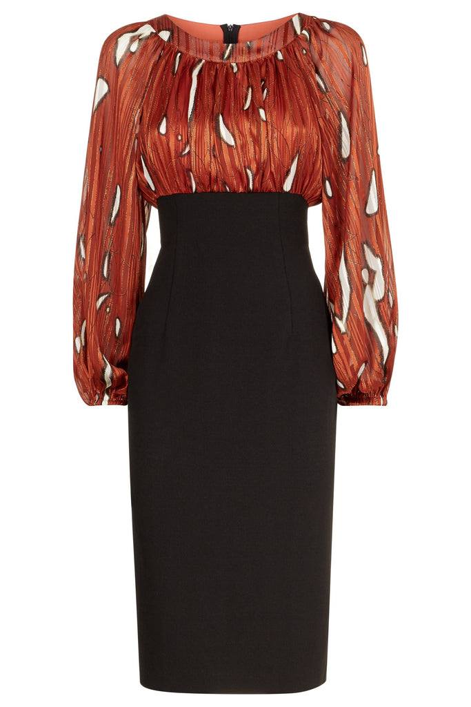 Traffic People Wiggle and Wave Midi Pencil Dress in Rust Red FlatShot Image