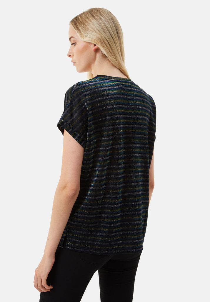 Traffic People The Daunting Disco Glitter Stripe T-Shirt in Blue Back View Image