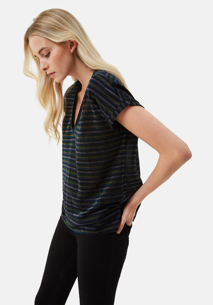 Traffic People The Daunting Disco Glitter Stripe T-Shirt in Blue Side View Image