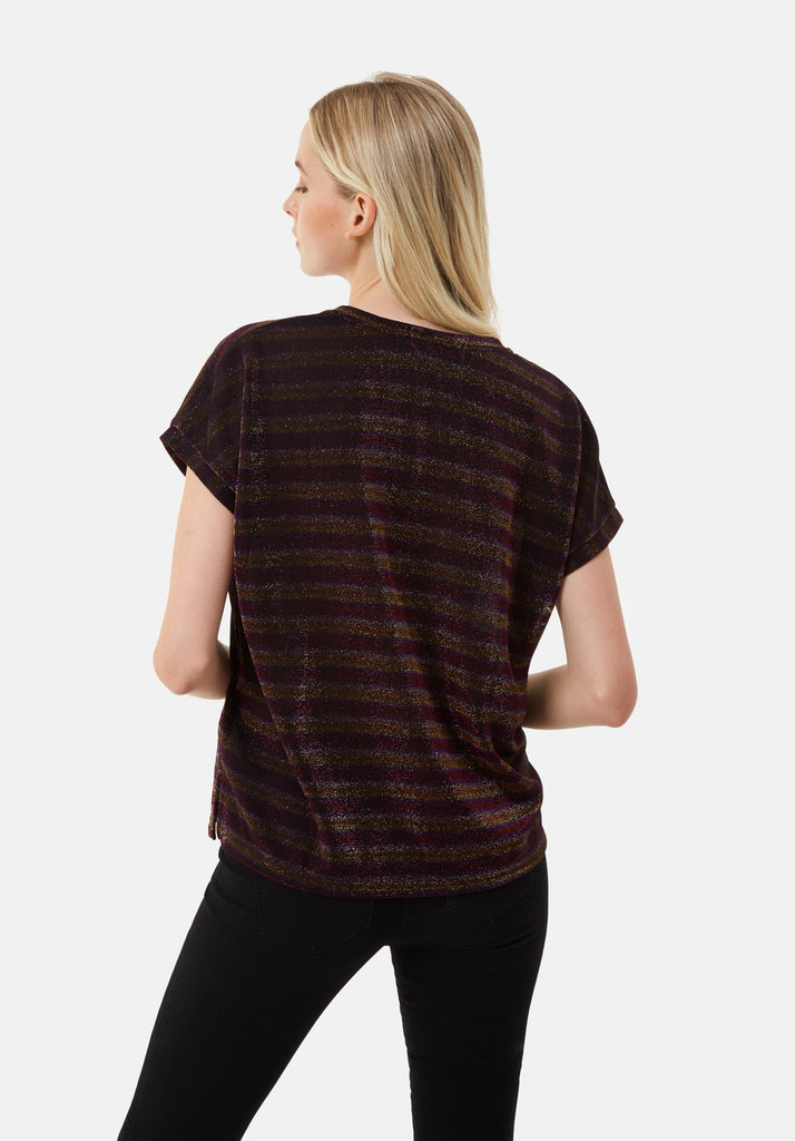 Traffic People The Daunting Disco Glitter Stripe T-Shirt in Pink Back View Image