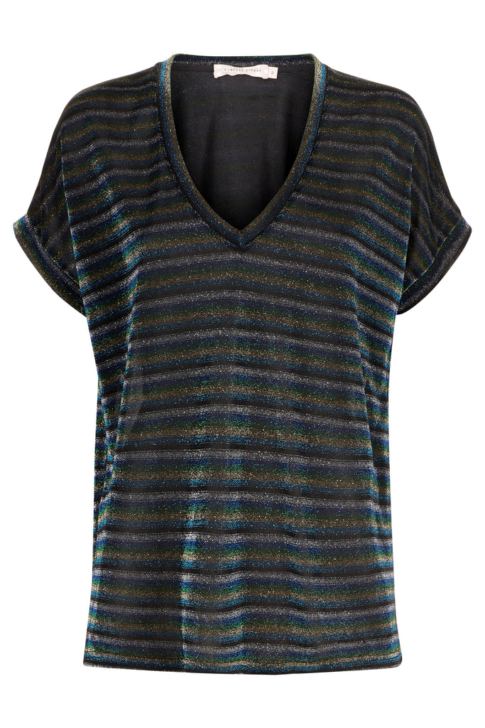 Traffic People The Daunting Disco Glitter Stripe T-Shirt in Blue FlatShot Image