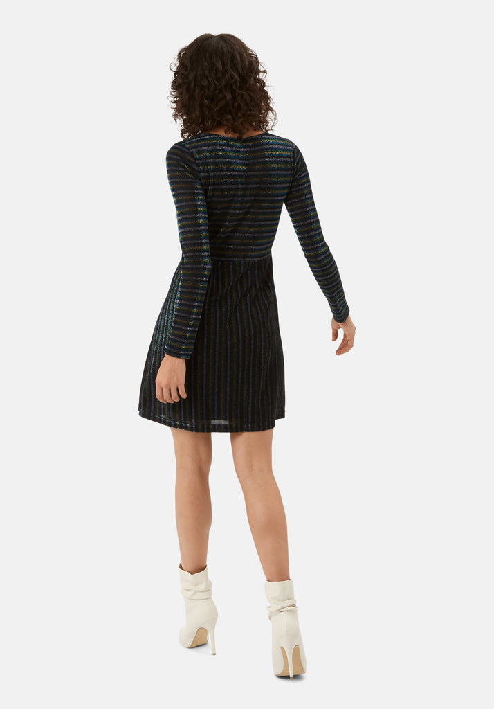 Traffic People The Daunting Disco Mini Glitter Stripe Nolan Dress in Blue Back View Image