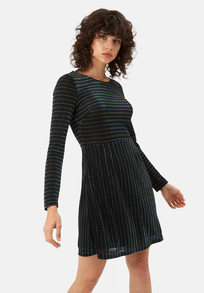 Traffic People The Daunting Disco Mini Glitter Stripe Nolan Dress in Blue Front View Image