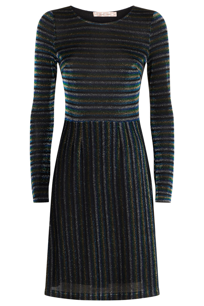 Traffic People The Daunting Disco Mini Glitter Stripe Nolan Dress in Blue FlatShot Image