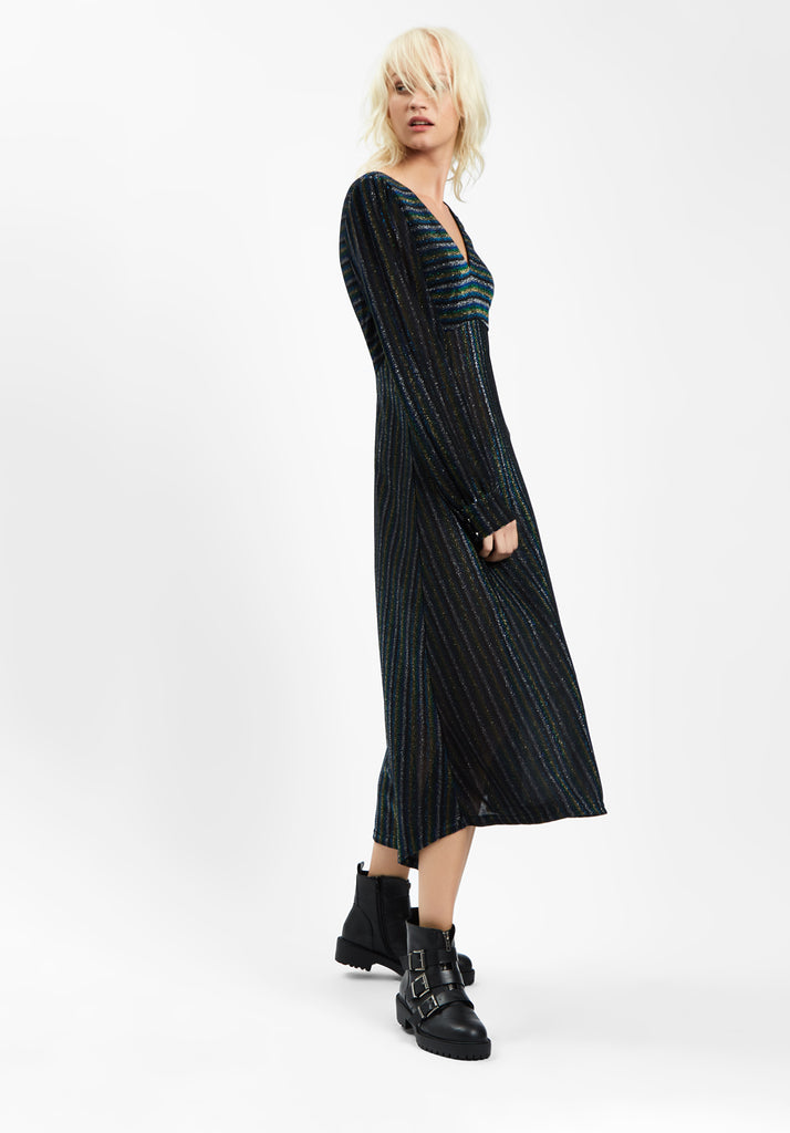 Traffic People Pulse Glitter Stripe Midi Dress in Blue Side View Image