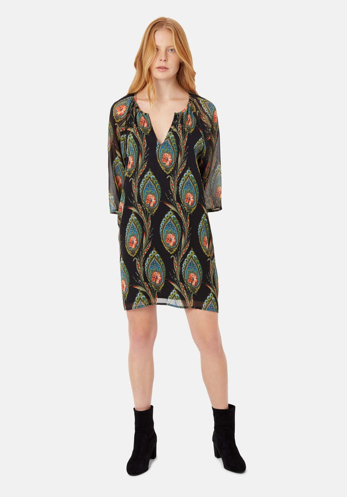 Moments Feather Print Mini Dress in Black