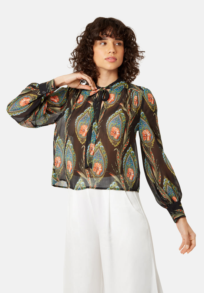 Traffic People Maisie Feather Print Long Sleeved Blouse in Black Front View Image