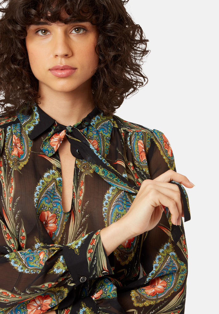 Maisie Feather Print Long Sleeved Blouse in Black