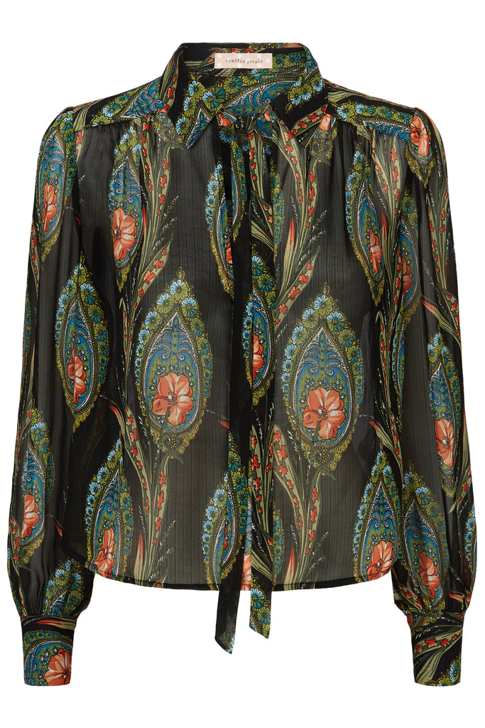 Traffic People Maisie Feather Print Long Sleeved Blouse in Black FlatShot Image