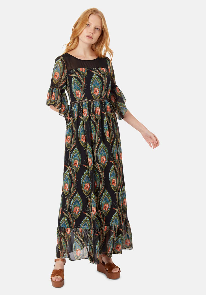 In The Dark Garden Boho Maxi Dress in Black