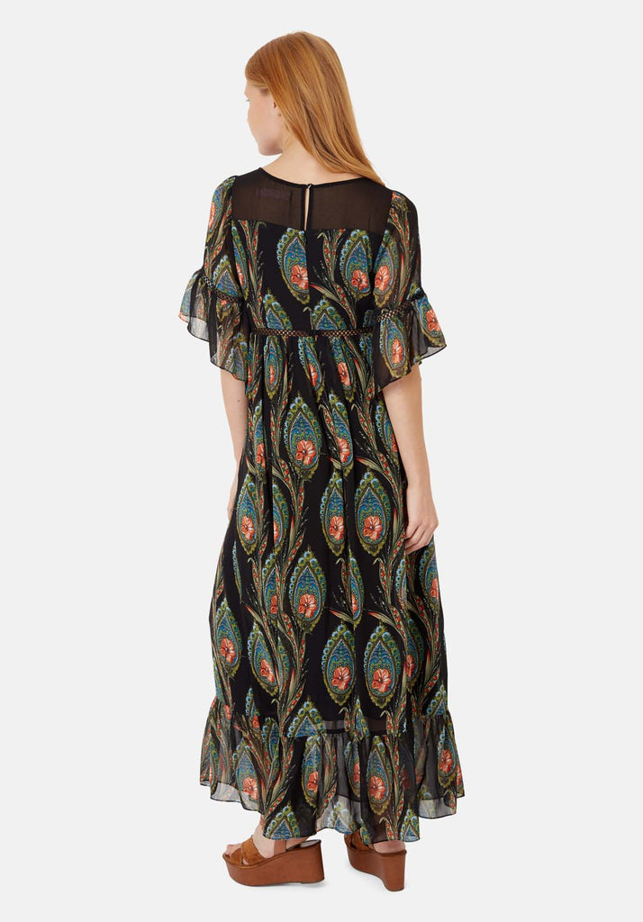 Traffic People In The Dark Garden Boho Maxi Dress in Black Side View Image
