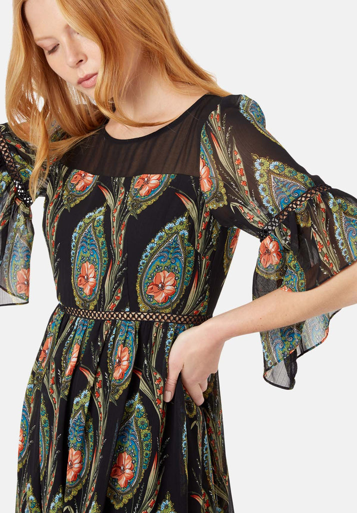 Traffic People In The Dark Garden Boho Maxi Dress in Black Close Up Image