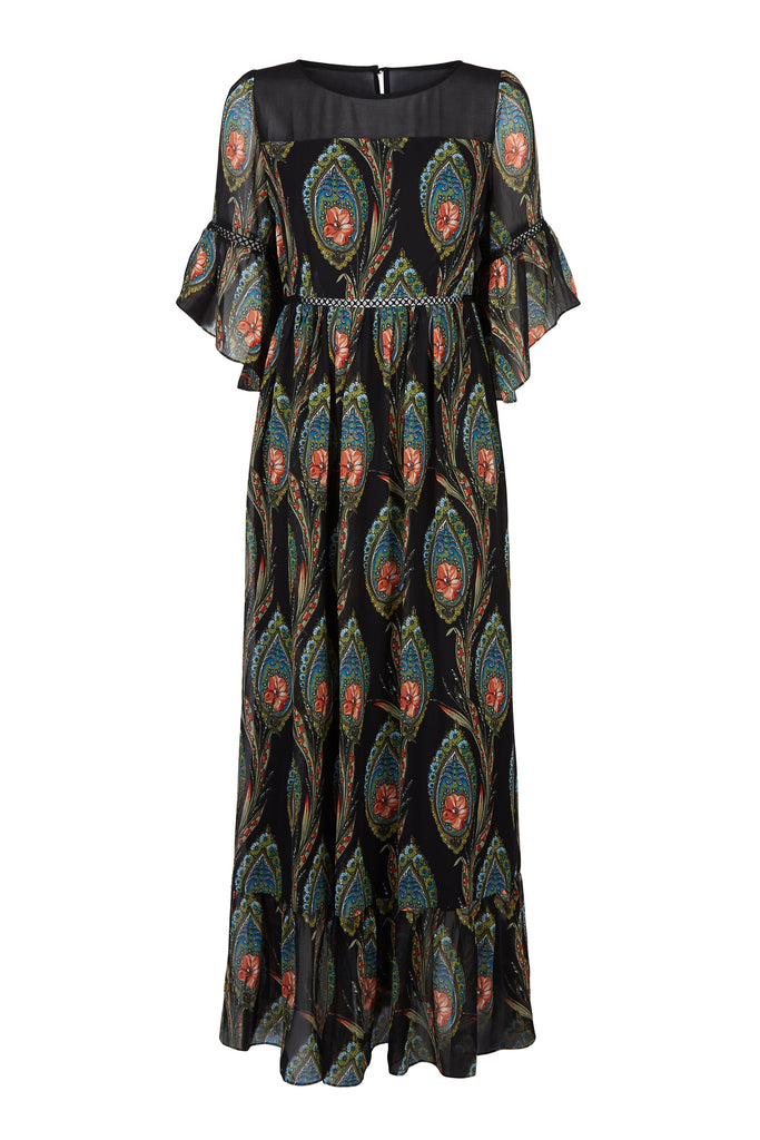 Traffic People In The Dark Garden Boho Maxi Dress in Black FlatShot Image