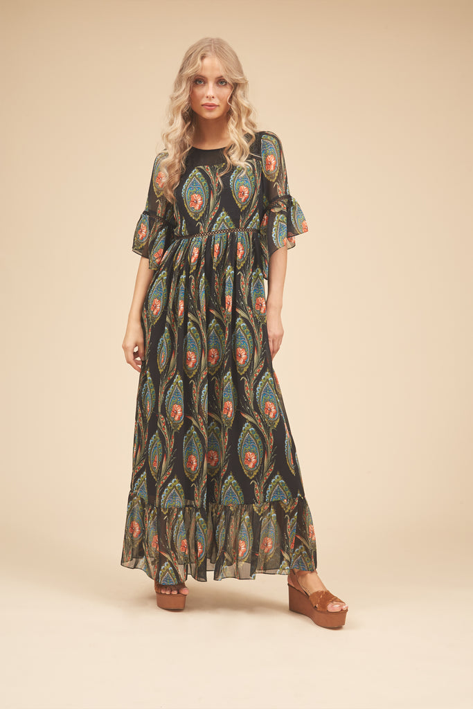 Traffic People In The Dark Garden Boho Maxi Dress in Black Front View Image