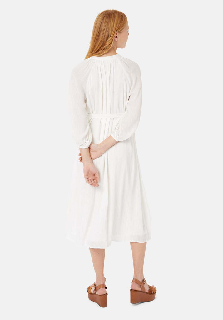 Traffic People Long Sleeved Belt Up Midi Dress in White Side View Image