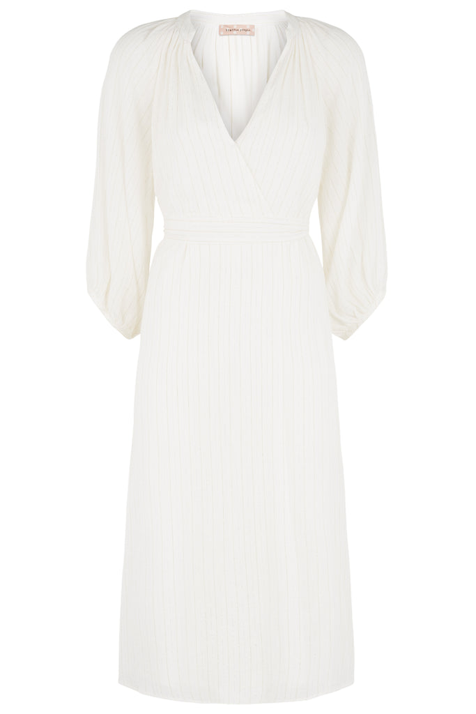 Traffic People Long Sleeved Belt Up Midi Dress in White FlatShot Image