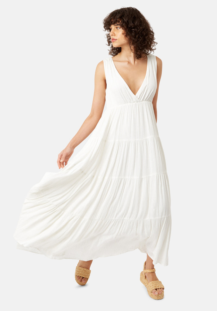 Traffic People Sleeveless Mellow Maxi Dress in White Front View Image