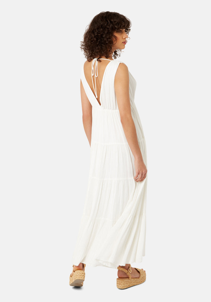 Traffic People Sleeveless Mellow Maxi Dress in White Side View Image