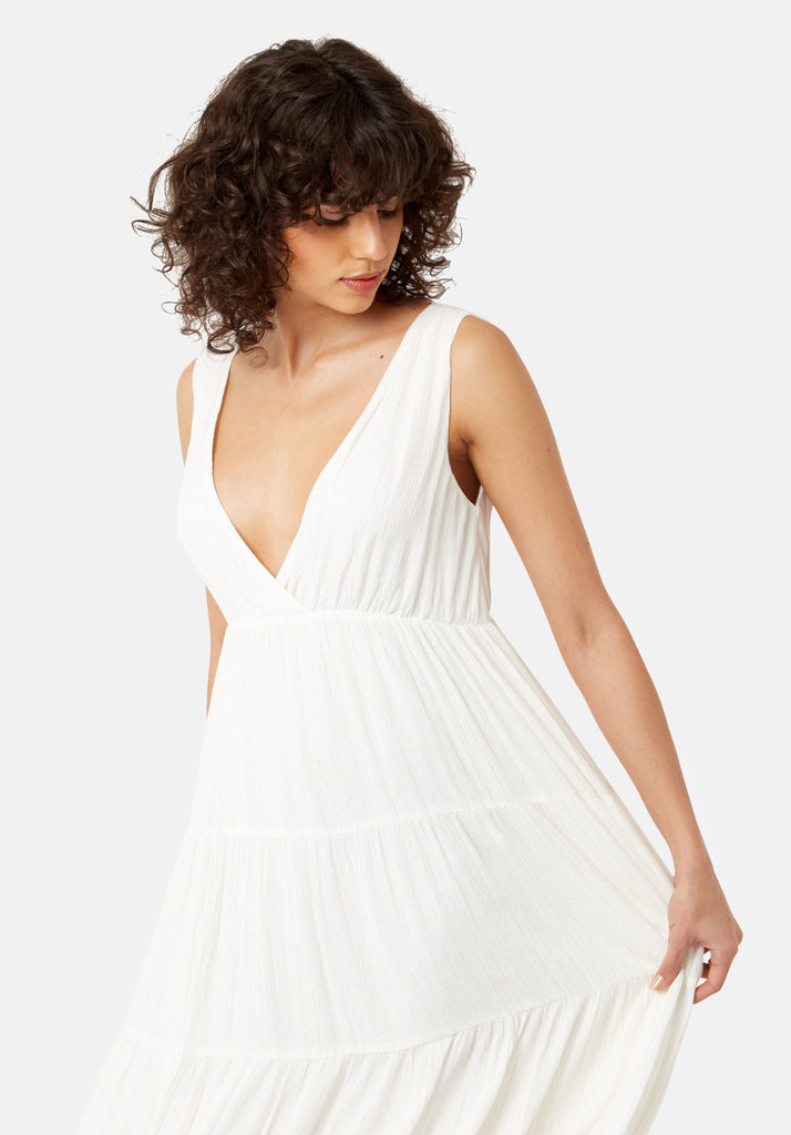 Traffic People Sleeveless Mellow Maxi Dress in White Back View Image