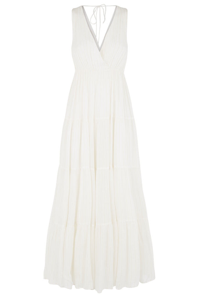 Traffic People Sleeveless Mellow Maxi Dress in White FlatShot Image