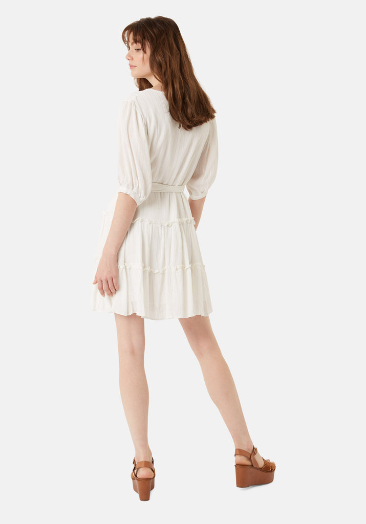 Traffic People Felicitous Metallic Stripe Mini Dress in White Side View Image