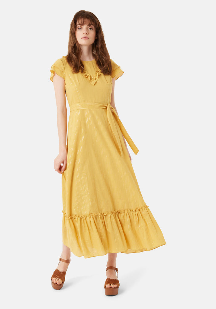 Traffic People Forgiven Maxi Stripe Dress in Yellow Front View Image
