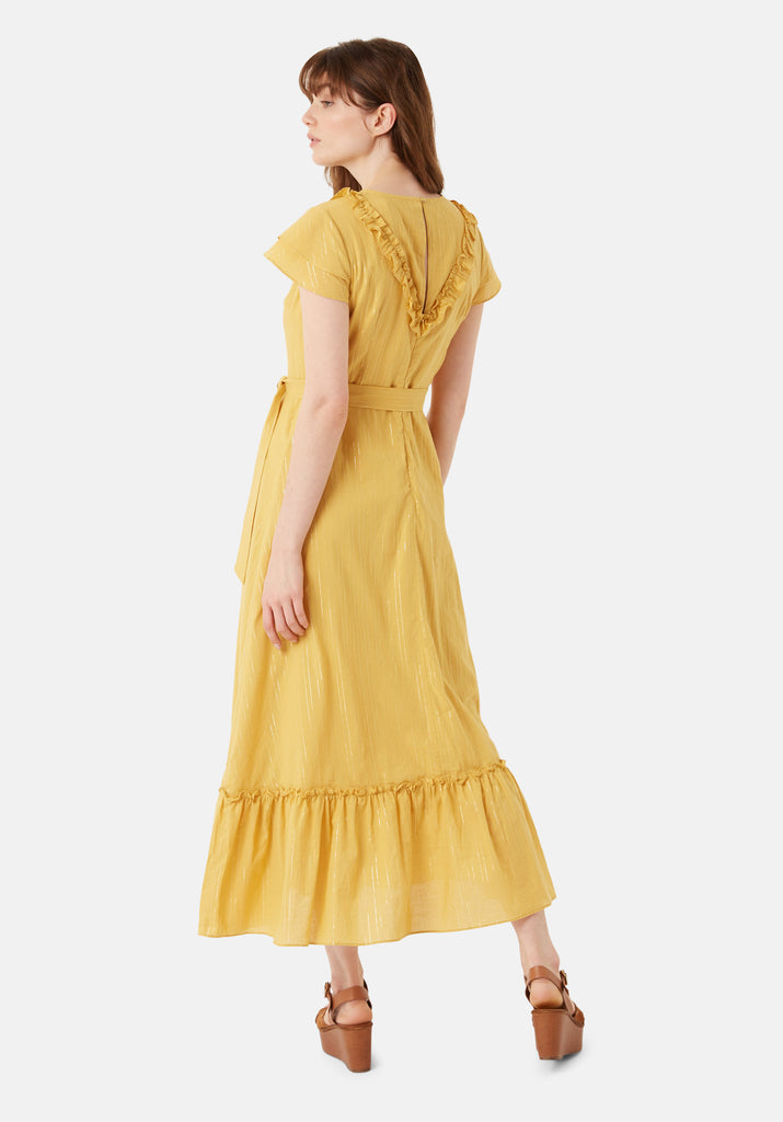 Traffic People Forgiven Maxi Stripe Dress in Yellow Back View Image