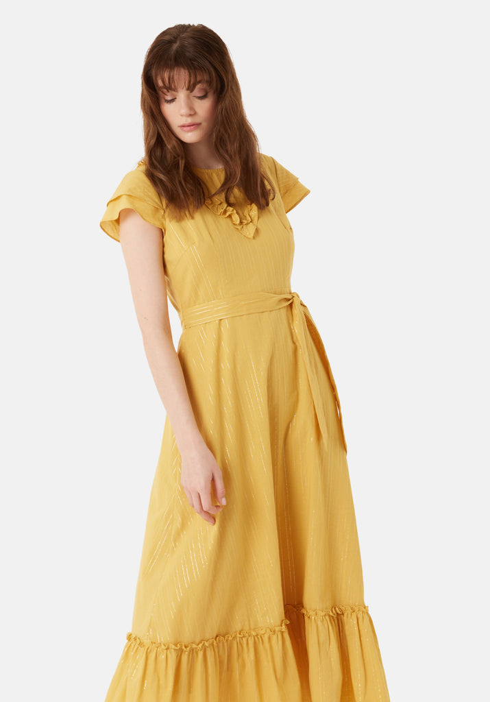 Traffic People Forgiven Maxi Stripe Dress in Yellow Close Up Image