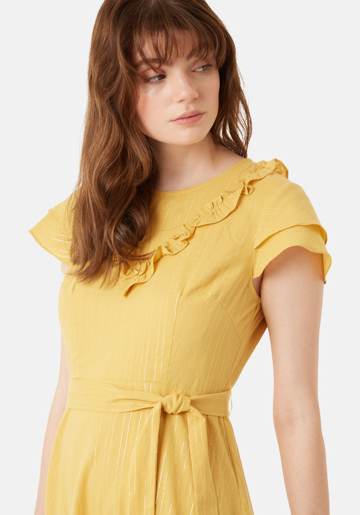 Traffic People Forgiven Maxi Stripe Dress in Yellow Side View Image