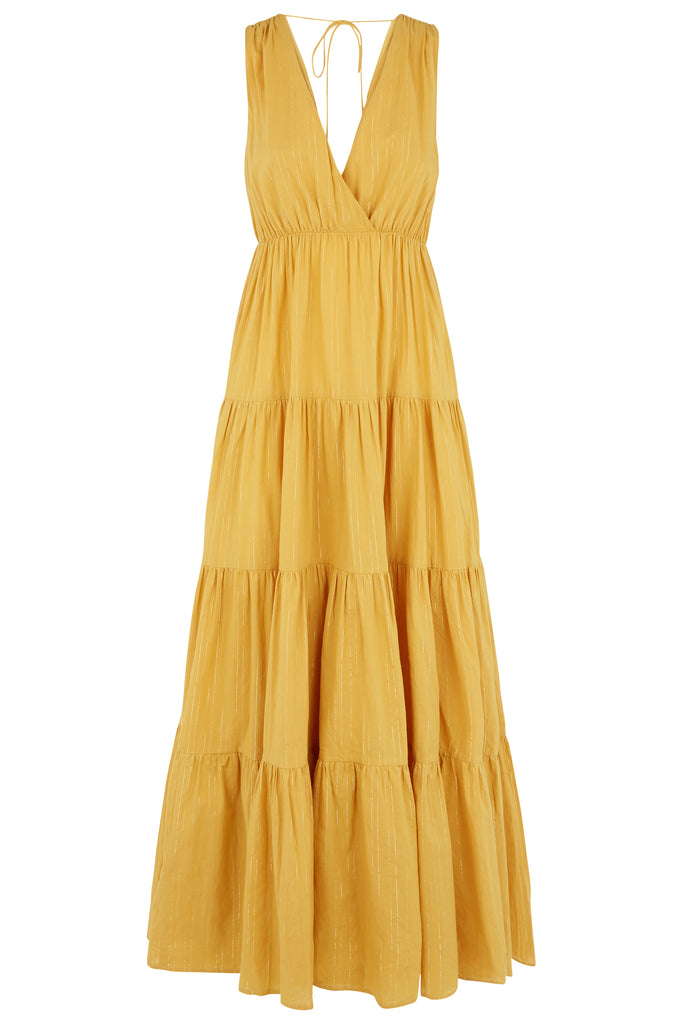 Traffic People Sleeveless Cotton Gaia Maxi Dress in Mustard Yellow FlatShot Image
