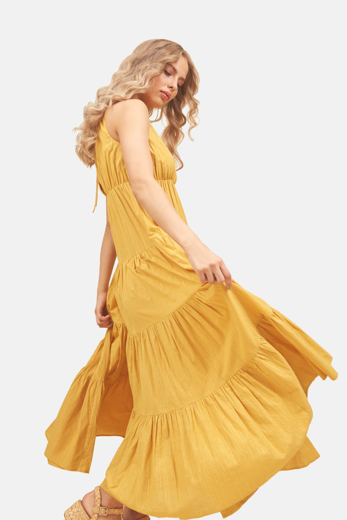 Traffic People Sleeveless Cotton Gaia Maxi Dress in Mustard Yellow Side View Image