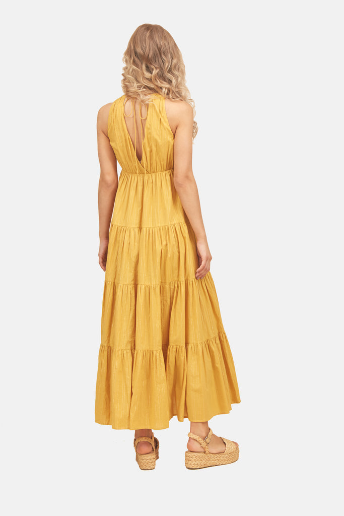 Traffic People Sleeveless Cotton Gaia Maxi Dress in Mustard Yellow Back View Image