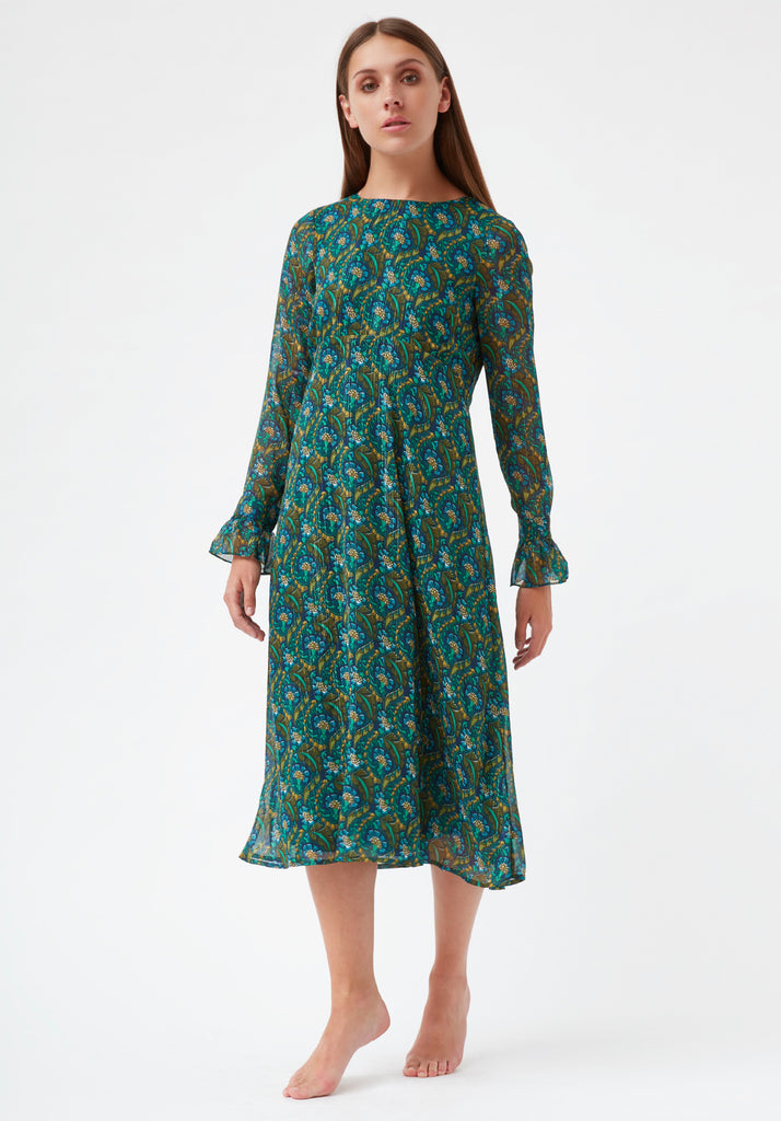 Traffic People This Old Thing Paisley Long Sleeve Midi Dress in Green Front View Image