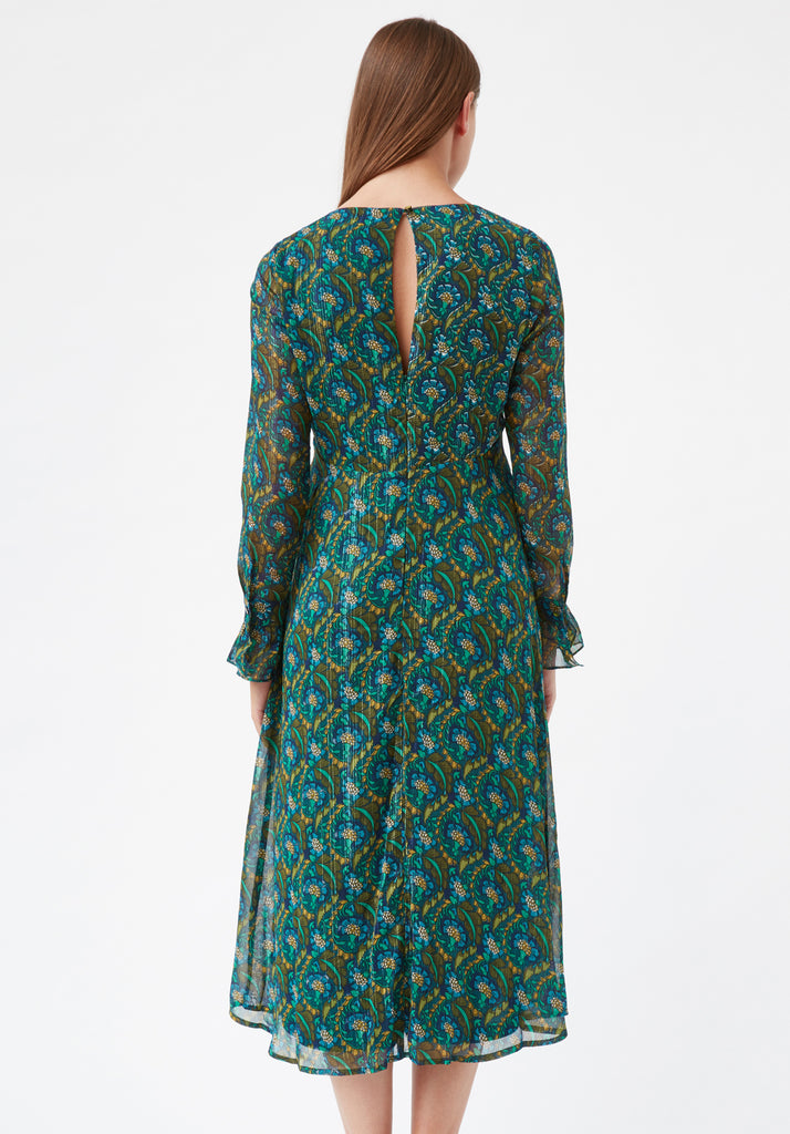Traffic People This Old Thing Paisley Long Sleeve Midi Dress in Green Side View Image