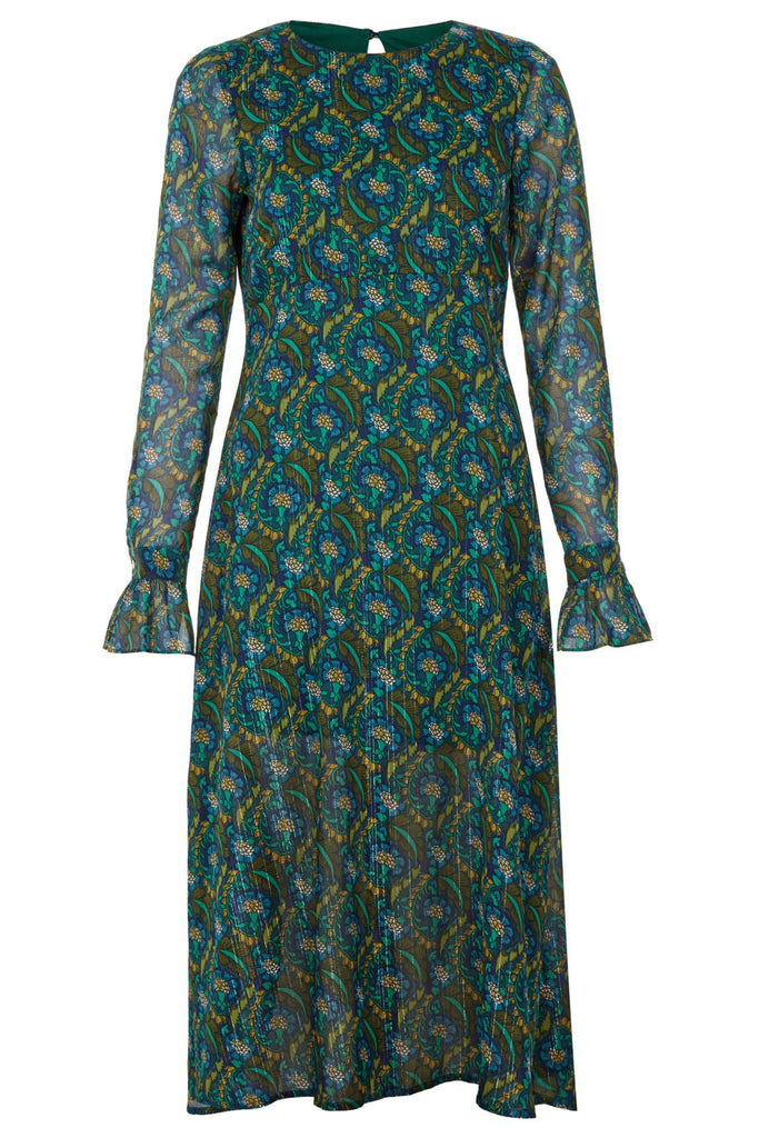 Traffic People This Old Thing Paisley Long Sleeve Midi Dress in Green Back View Image