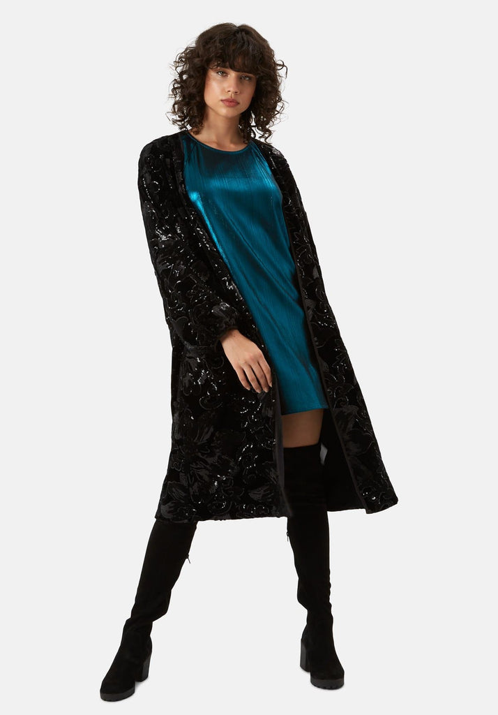 Traffic People Trespass Tease Velvet and Sequin Duster Jacket in Black Side View Image