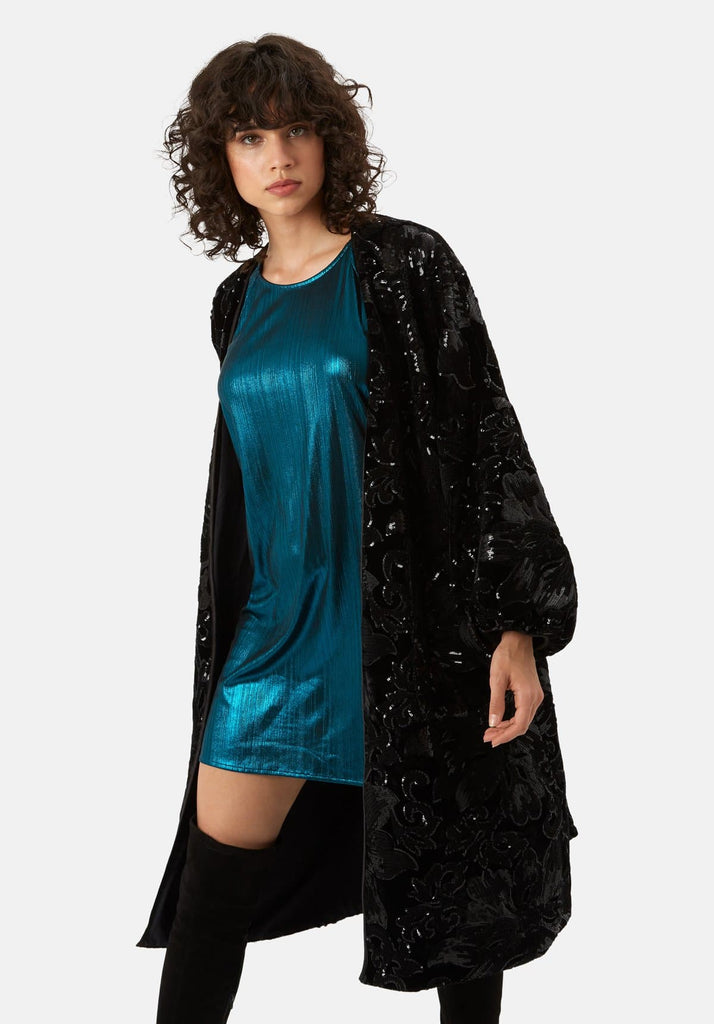 Traffic People Trespass Tease Velvet and Sequin Duster Jacket in Black Front View Image