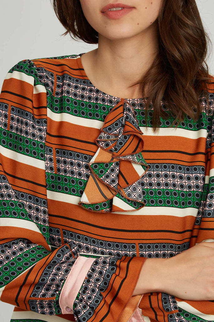 Traffic People Thrilled Geometric Mini Dress in Brown Close Up Image