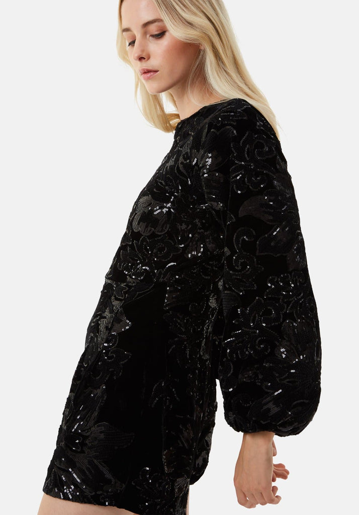 Traffic People Velvet and Sequin Bambi Playsuit in Black Close Up Image