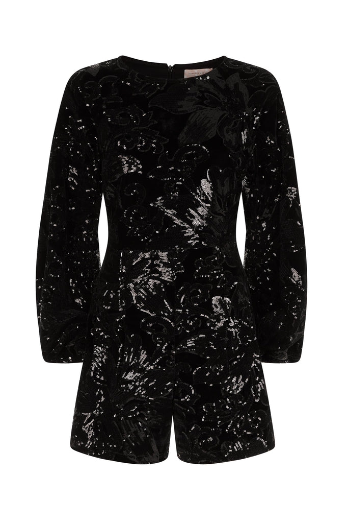 Traffic People Velvet and Sequin Bambi Playsuit in Black FlatShot Image